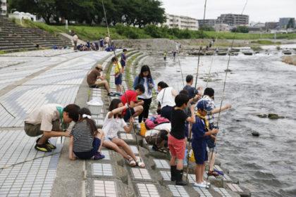 昭島1団カブ隊と合同の釣り大会@浅川ふれあい橋